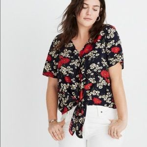 Madewell Hillside Daisies Tie Front Floral Top XL